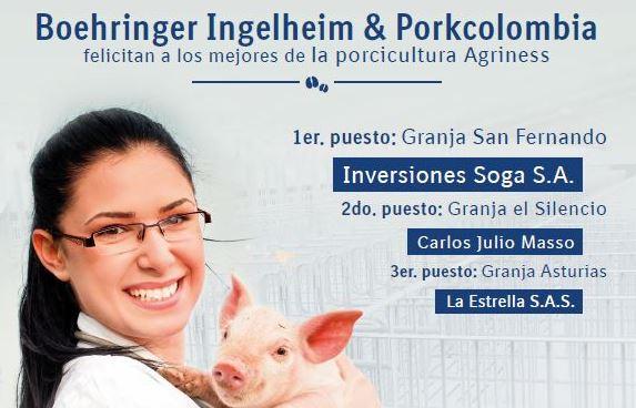 Porkcolombia y Boehringer Ingelheim felicitan a los mejores de la porcicultura Agriness